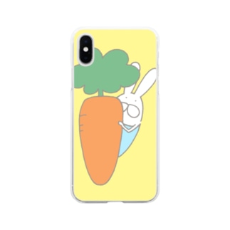 うさぎロンパースのかくれんぼ Soft Clear Smartphone Case