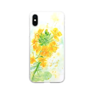 フレッシュ菜の花 Soft clear smartphone cases