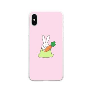 うさぎロンパースとにんじん Soft Clear Smartphone Case