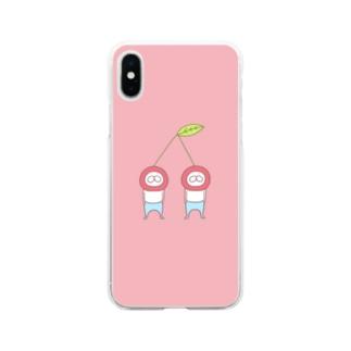ねこタイツ チェリー Soft Clear Smartphone Case