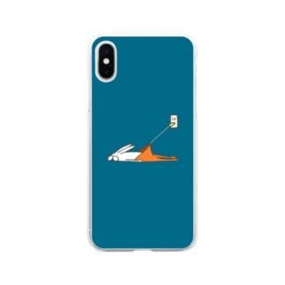 くらきち ONLINE SHOPのうさぎタイツの充電 Soft clear smartphone cases