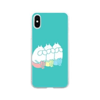ねこタイツ トリオ Soft clear smartphone cases