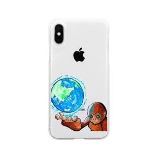 将来絶対何かしでかす若猿 Soft clear smartphone cases