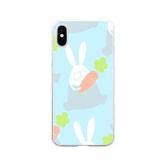 うさぎロンパースとにんじん Soft clear smartphone cases