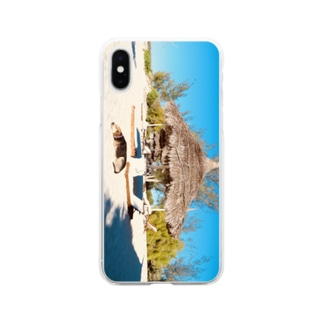 yutoyouのSleeping Beach DOG Soft clear smartphone cases