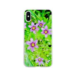 道端の花 ニワゼキショウ Soft clear smartphone cases