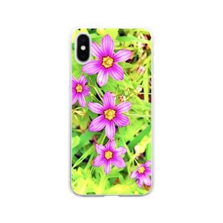 道端の花 ニワゼキショウ(カラフル) Soft clear smartphone cases