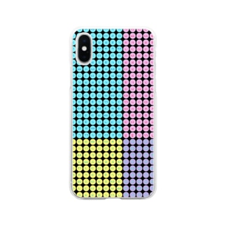 YAYOI.channel のハングルスマホケース ドット~黒地パステル~ Soft clear smartphone cases