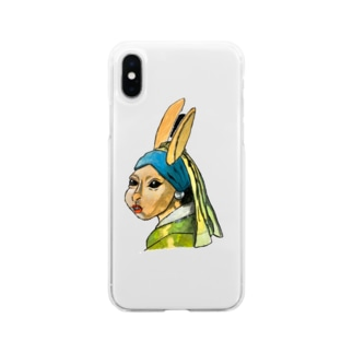 青いターバンのウサギ Soft clear smartphone cases