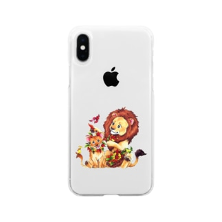 *えいぷりる どぎぃ工房*の親子ライオン Soft Clear Smartphone Case