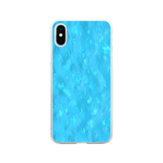 VARIOUS BRAND Official Shopの水色系モヤ柄 Soft clear smartphone cases