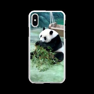 HKG パンダのいただきます Soft clear smartphone cases