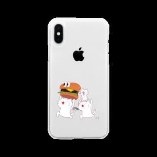 Hello Happy Catのじろにゃんたちとハンバーガー Soft clear smartphone cases