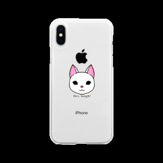 enu. のHey, laugh!(白猫) Soft clear smartphone cases