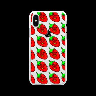 うめもと公式のイチゴのかずや総柄 Soft clear smartphone cases