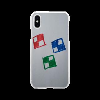 まるあるちのチェックな四角 Soft clear smartphone cases