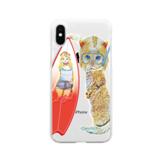 Rock catのサーファーCAT GIRL Soft clear smartphone cases