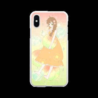 m_matsurikaの梅酒ソーダの子 Soft clear smartphone cases