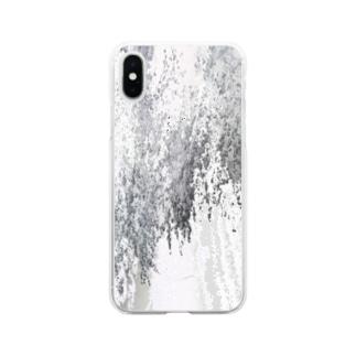 雪と桜と夜 Soft clear smartphone cases