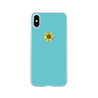 青空のひまわり Soft clear smartphone cases