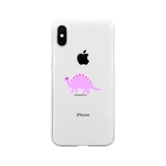 眠たいキョウリュウ ピンク Soft clear smartphone cases