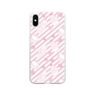 ピンクのお菓子 Soft clear smartphone cases