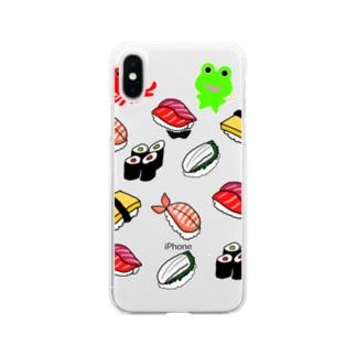 お寿司とカエルくんとたこケロ Soft clear smartphone cases