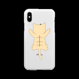 ゆめかわ屋 いそぎんちゃくのしがみつく茶トラ猫 Soft clear smartphone cases