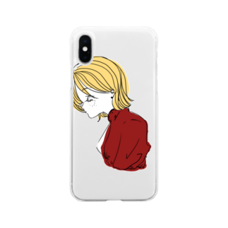 iamsaituyoの黄色い髪の女の子 Soft clear smartphone cases