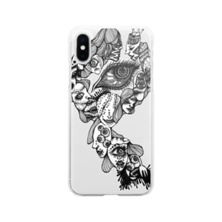 Strange junkの仮【歪んだ顔】 Soft clear smartphone cases