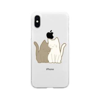 仲良し猫 黒&白 Soft clear smartphone cases