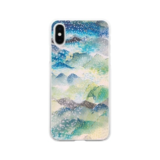 山に雨 Soft clear smartphone cases