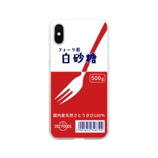白砂糖パッケージ風 スマホケース Soft clear smartphone cases