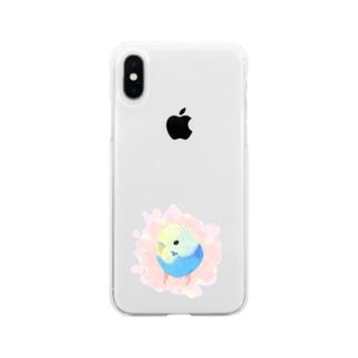 まるまるセキセイインコ【まめるりはことり】 Soft clear smartphone cases