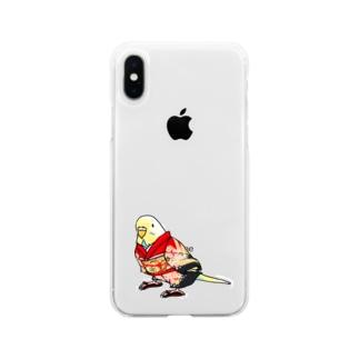 ごきげん着物セキセイインコ【まめるりはことり】 Soft clear smartphone cases