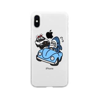 逃げるサメ Soft clear smartphone cases