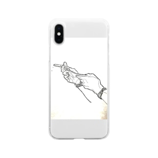 きうちりょうせいくんの手 Soft clear smartphone cases