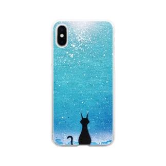 猫のいる街 Soft clear smartphone cases