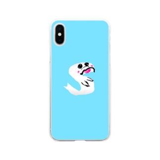 イニシャル頭文字 背景色有り文字絵「S」スマホケース Soft clear smartphone cases