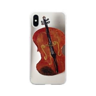 R i nのバイオリン Soft clear smartphone cases