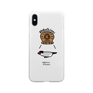 桜文鳥アブダクション Soft clear smartphone cases