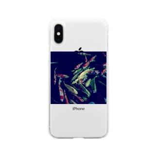 夜と鯉 Soft clear smartphone cases