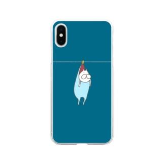 ねこタイツの洗濯 ブルー Soft clear smartphone cases