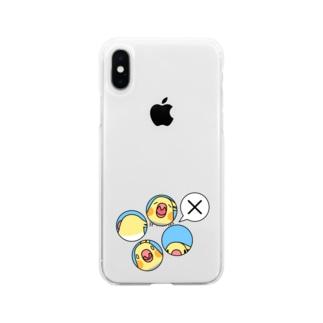 オカメインコばつ×【まめるりはことり】 Soft clear smartphone cases