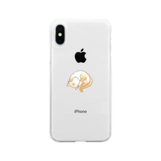 もうダメェ猫 Soft clear smartphone cases