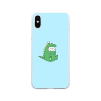 ねこタイツ かいじゅう Soft clear smartphone cases