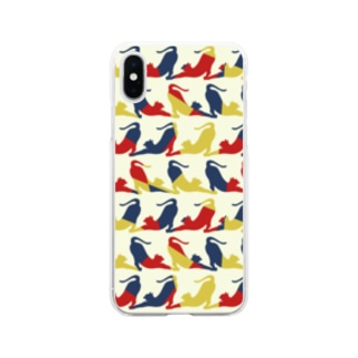 Yawn/あくび猫シルエット Soft clear smartphone cases