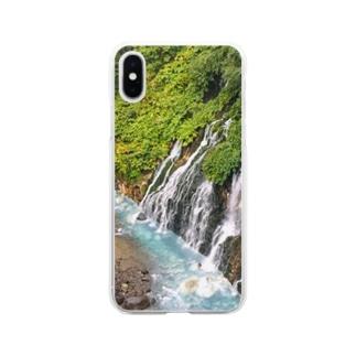 北海道白ひげの滝 Soft clear smartphone cases