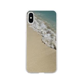 砂浜リゾート Soft clear smartphone cases