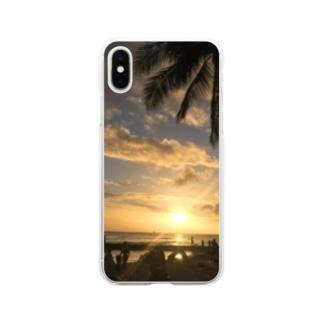 ハワイ夕景写真 Soft clear smartphone cases